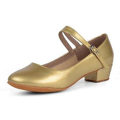 KYDJ Kids' Dance Shoes Leather Leather Ballet / Latin Heels Chunky Heel Practice Black / Red / Silver / Gold [golden, us3 / eu34 / uk2 little kids]