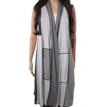 Cameleon NEW Gray Women's One Size Striped Colorblock Vest Sweater