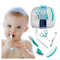 My Happy Tot Baby Grooming Kit - Deluxe Essential Set for Infants, Newborns, Kids, Boys and Girls. Unisex Kit Includes Nail Clipper, Brush, File, Scissors, Comb, Toothbrush & Finger Toothbrush