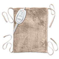 Sunbeam Ultra-Soft Moist / Dry Heating Pad with Straps, 3 Heat-Settings, 12'' X 15'', 9-Foot Power Cord, Machine Washable Cover, Beige