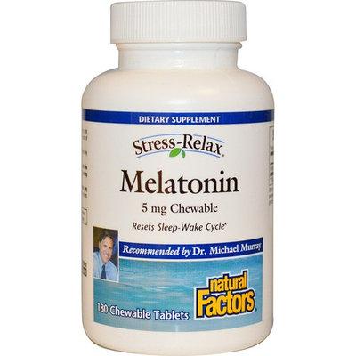 Natural Factors, Stress-Relax, Melatonin, 5 mg, 180 Chewable Tablets [Potency : 5 mg]