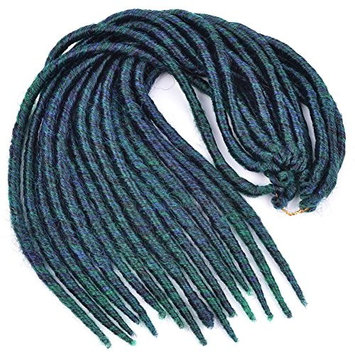 Dreadlock Havana Mambo Faux Locs Crochet Braiding Hair Extensions 16Roots/pack ombre blue-green color 80g (Dreadlock 6pcs, ombre blue-green)