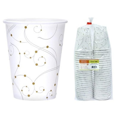 Hanna K Signature 2184652 12 oz Swirls & Pearls Paper Hot-Cold Cup - Pack of 24 & 50 per Pack