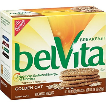 belVita Golden Oat Breakfast Biscuits, 5 Count Box, 8.8 Ounce (Pack of 6)