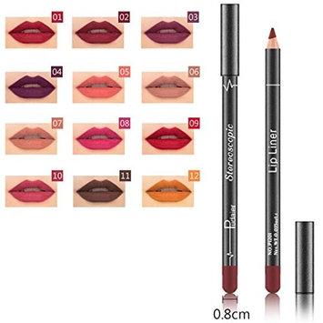 Hunputa 12PCS/Set Fashion Trendy Colors Lip Liner Pencil Waterproof Long Lasting Matte Lipstick Makeup Lip Gloss