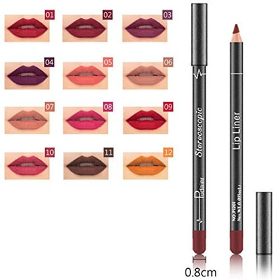 Hunputa 12PCS/Set Fashion Trendy Colors Lip Liner Pencil Waterproof Long Lasting Matte Lipstick Makeup Lip Gloss