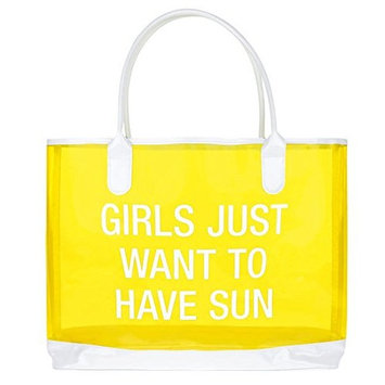 About Face Designs Girls Just Want to Have Sun Clear Vinyl Beach Bag