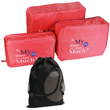 JAVOedge 3 Piece Nylon Mesh Travel and Storage Zipper Packing Cubes with Bonus Reusable Cosmetic / Toiletry Bag