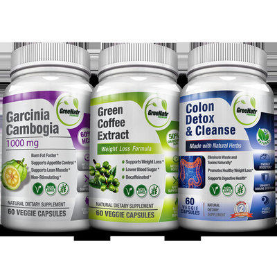 GreeNatr Weight Loss Perfect TRIO- Pure Green Coffee Bean Extract + Pure Garcinia Cambogia Extract + Colon Detox Cleanse -180 Veggie Capsules - Gluten Free [1 Month Supply]
