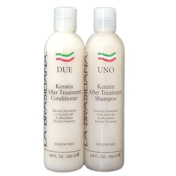 LA-BRASILIANA UNO Keratin And Collagen Shampoo 8.45oz + DUE Conditioner 8.45oz Combo Set Sale!