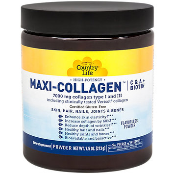 High Potency MAXI-SKIN Collagen Country Life 7.5 oz (213 g) Powder