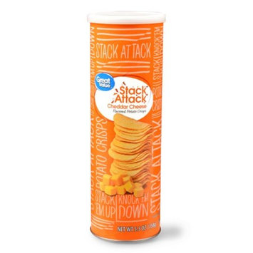 Great Value Stack Attack Cheddar Cheese Potato Crisps, 5.5 Oz.