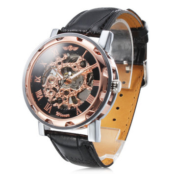 Self-Winding Mechanical Analog Rose Gold Dial Mens Sport Leather Wrist Watch Gift Automatic Dial