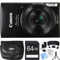 Canon PowerShot ELPH 190 IS Black Digital Camera w/ 10x Optical Zoom 64GB Card Bundle
