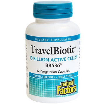 TravelBiotic 10 Billion Active Cells of BB536 Natural Factors 60 VCaps