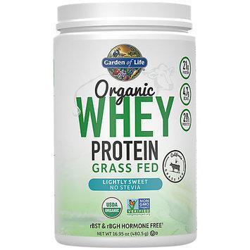 Garden of Life Organic Whey Protein Grass Fed Lightly Sweet Powder, 16.95 Oz