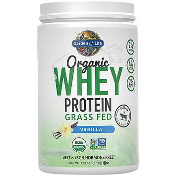 Garden of Life Organic Whey Protein Grass Fed Powder, Vanilla, 13.37 Oz