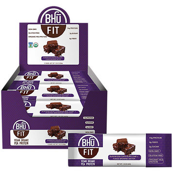 BHU Foods Fit Bar Vegan Organic Pea Protein, Chocolate + Brownie Batter, 12 Bars