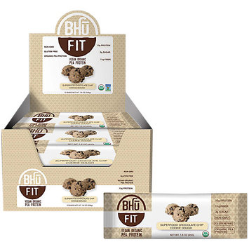 BHU Foods Fit Bar Vegan Organic Pea Protein, Chocolate Chip Cookie Dough, 12 Bar