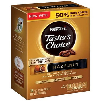 Nescafe Taster's Choice Instant Coffee Beverage, Hazelnut,16 - 0.1 oz packets