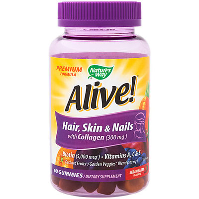 Nature's Way Alive! Premium Hair Skin and Nails with Collagen Gummies, Strawberry, 60 Ct