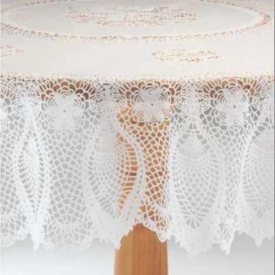 Miles Kimball White Vinyl Lace Tablecloth - 54