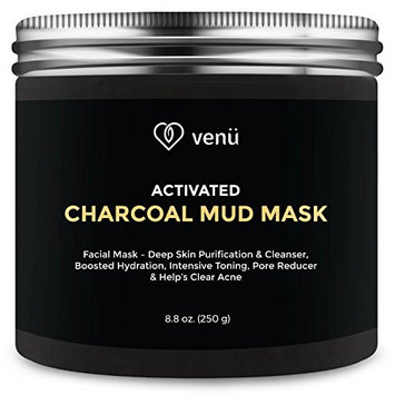 Activated Charcoal Mud Face Mask - All Natural Deep Skin Cleanser and Hydration Booster - Detoxifies and Purifies Face and Body - Acne and Pore Reducer - 8.8oz - By Venu
