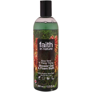Faith in Nature, Shower Gel & Foam Bath, Aloe Vera & Ylang Ylang, 13.5 fl. oz (400 ml) [Scent : Aloe Vera & Ylang Ylang]