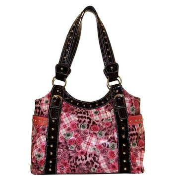 Texas Leather 500307HP Floral Plaid Accented with Nail Heads Office Specials Handbags & Wallets, Hot Pink