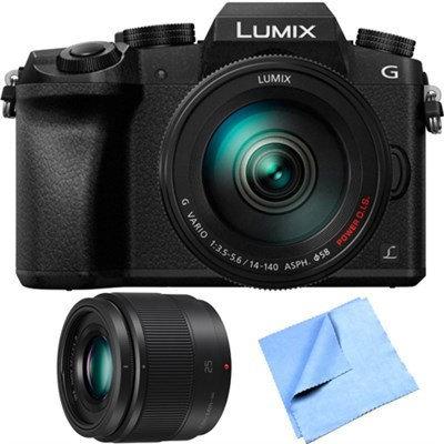 Panasonic LUMIX G7 Interchangeable 4K UHD Black DSLM Camera w/ 14-140mm + 25mm Lens Bundle