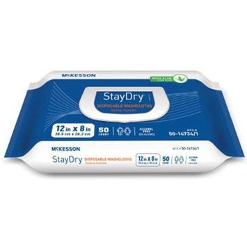 McKesson StayDry® Disposable Washcloths with Aloe, Pre-moistened, 8 X 12 Inch, Soft Pack - 1/Case of 600