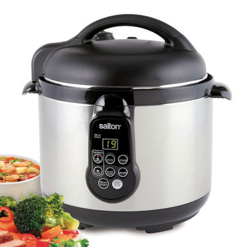 Salton 5-in-1 5-qt. Stainless Steel Electric Pressure Cooker, Black