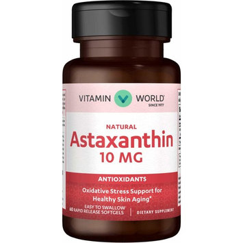 Vitamin World Natural Astaxanthin 10 mg. 60 Softgels, Natural Antioxidant, Skin Health, Rapid-Release, Gluten Free