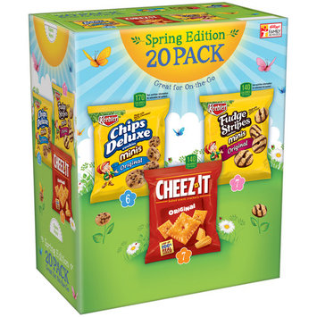 Keebler Chips Deluxe/Cheez-It/Fudge Stripes Variety Pack 20 ct (Pack Of 4)