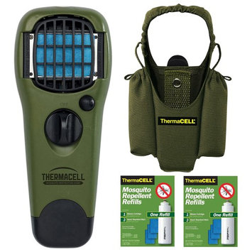 Thermacell Camper's Kit: Mosquito Repellent Appliance Olive Holster 2 Refills