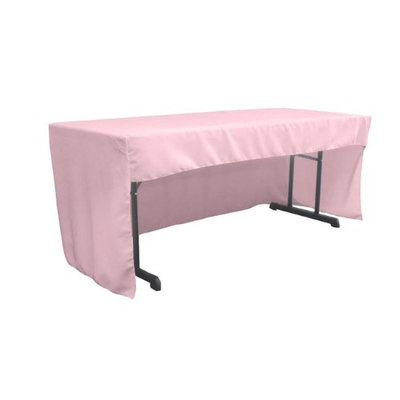 LA Linen TCpop-OB-fit-96x30x30-PinkLgtP37 2.26 lbs Open Back Polyester Poplin Fitted Tablecloth Light Pink