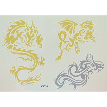 GGSELL Dragon Golden and Silver glitter temporary tattoos by GGSELL