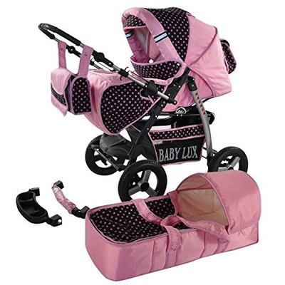 Lux4Kids Magnum 2 in 1 Pram Combi Stroller & Pushchair (rain cover, mosquito net, cup holder, changing pad, 47 colors) 03 Black & Black