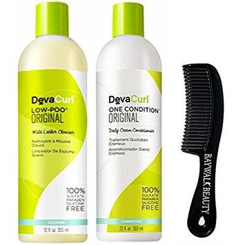 DevaCurl Low-Poo Original & One Condition Original Duo - 12 oz With FREE Shower Comb