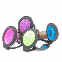 Mirror With Comb - 1 Piece Magic Folding Handle Tangle Detangling Comb Shower Hair Brush With Makeup Mirror Salon Styling Tamer Tool - Pocket Hair Comb - Folding Mirror Brush - RANDOM COLOR