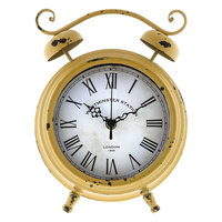 Double Bell Tabletop Clock, Yellow