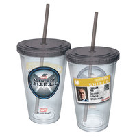 ICUP Marvel Agent Coulson Badge Cup with Straw, Clear