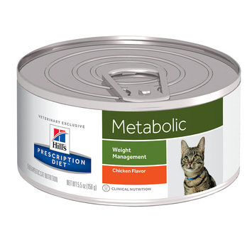 Hills Hill's Prescription Diet Metabolic Weight Management Chicken Flavor Canned Cat Food, 5.5 oz, 24-pack