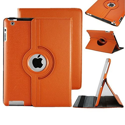Clever 360 Angle view Ipad air (2013-14)/ Ipad 5 360 Rotating Magnetic PU Leather Case (Orange) Smart Cover Stand for Ipad air (2013-14)/ Ipad 5