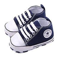 WAYLONGPLUS Infant Cute Canvas Sneaker Toddler Prewalker Anti-skid Soft Trainer Shoes (Blue, Size 13)