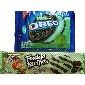Limited Edition Cookie Bundle - Mint Creme Oreo, Dark Chocolate Mint Fudge Stripes - Variety Pack of 2