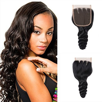 8A Grade Brazilian Virgin Hair 16 Inch Loose Wave Closure 100% Unprocessed Brazilian Virgin Human Hair Loose Wave Silky Lace Closure Three Part