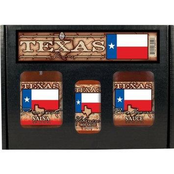 8 Pack TEXAS FLAG GIFT SET: Salsa, BBQ, HS or Steak Sauce in box w/ handle 3pk