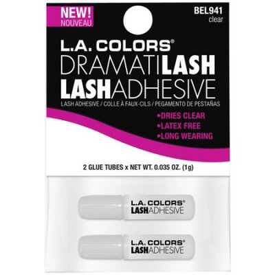 LA Colors Dramatilash Travel Eyelash Adhesive, Clear, 2 Ct