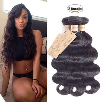 MONIKAHAIR 9A Brazilian Hair Body Wave Hair 3 Bundles 100% Unprocessed Human Hair Weave Weft (12 14 16,300g) Black Natural Color Virgin Remy Human Hair Extenions